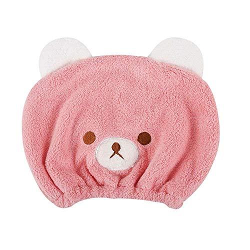 Gorro de baño Niñas toalla de baño secador turbante de microfibra, diseño de oso Mignon sombrero cabello secas dulce ligero rápido absorbente capucha de ducha Spa piscina natación para niños rosa rosa