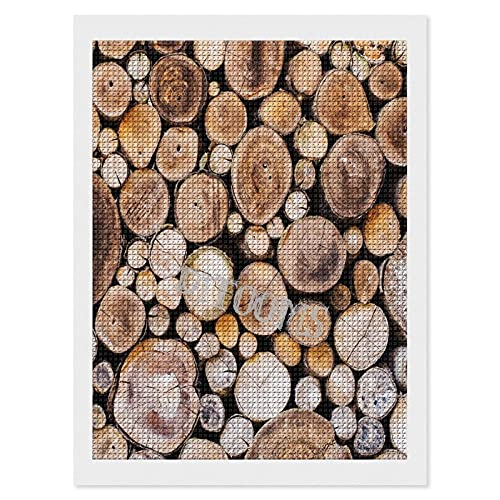 DIY 5D Diamond Painting by Number Kits, Painting Cross Full Drill Crystal Rhinestone Embroidery Arts Craft for Home Wall Decor Gift Wooden Logs Circular Shaped Oak Tree Life and Growth 12'x16'