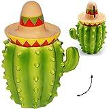 alles-meine.de GmbH große Spardose -  lustiger Kaktus mit Sombrero  - 18,5 cm - aus Porzellan / Keramik - stabile Sparbüchse / Sparschwein - für Kinder & Erwachsene / lustig wi..
