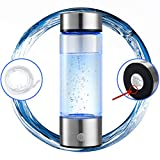 N.P Hydrogen Water Bottle Generator with Inhaler Adapter,Portable Hydrogen Water Maker Machine,Dual Chamber,PEM and SPE Technology,New Technology Glass Water Ionizer,Up to (1500PPB)