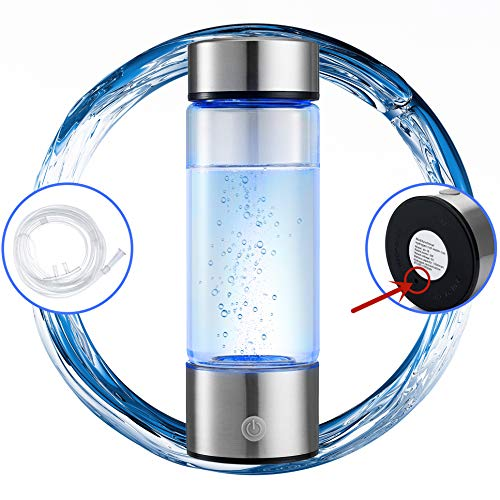 N.P Hydrogen Water Bottle Generator with Inhaler Adapter,Portable Hydrogen Water Maker Machine,Dual Chamber,PEM and SPE Technology,New Technology Glass Water Ionizer,Up to 1500PPB (1500PPB)