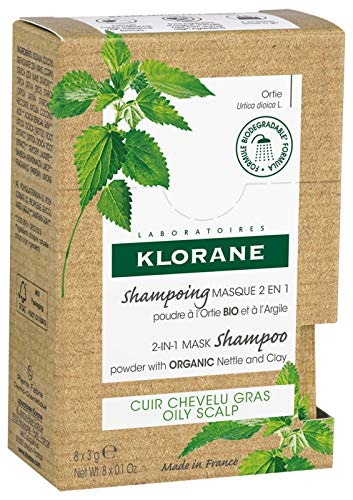 Klorane Champu Mascarilla de Ortiga 2 en En Polvo, 8 Sobres, Blanco