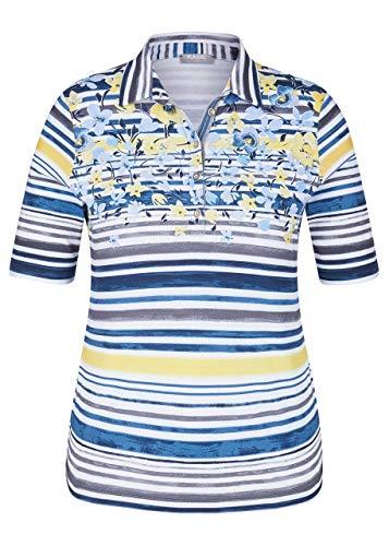Rabe Damen Polo-Shirt mit Allover-Ringeln und Blumendetails