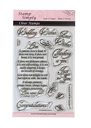 Stamp Simply Clear Stamps Wedding Wishes Set Christian Religious 4x6 Inch Sheet - 11 Pieces