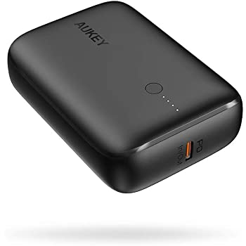 Portable Charger 10000mAh AUKEY Smallest USB C Power Bank with 18W Power Delivery and Quick Charge 3.0 Fast Phone Charger for iPhone 12/12/mini/Pro Max/11/11 Pro, iPad and Samsung