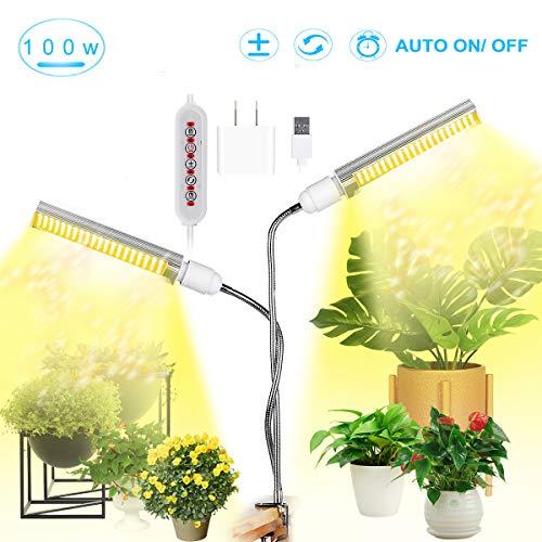 MFEI Led Grow Lights für Zimmerpflanzen Vollspektrum 100W Dimmbar, sonnenähnlich Pflanzenlicht Grow Bulb 176 LEDs Growing Lamp für Setzlinge Growing Blooming Fruit USB Plug