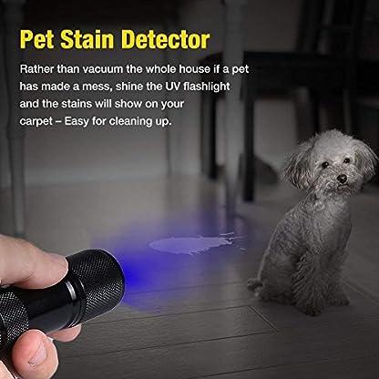 CFIKTE UV LED Flashlight Black Light UV Lights 9 LED Ultraviolet Blacklight Flashlights Pets Urine and Stains Detector on Clothes Carpet Rugs (2 PACK) 5