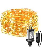 LE LED String Lights, 10M 33ft Waterproof Copper Wire Fairy String Lights with100 LEDs, 3000K Warm White Decorative Twinkle Lights for Wedding Bedroom Christmas Party Garden Patio Outdoor Indoor