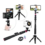 Andoer Selfie Pole Kit de Accesorios Selfie Inalámbrico Cámara de Video Digital Foto de Video con Mini Trípode + Trípode para Teléfono + Control Remoto