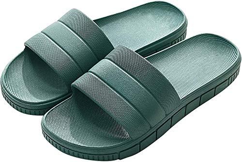Dusch- & Badeschuhe für Herren Hausschuhe Sommer Sandalen Damen Latschen Indoor Outdoor Pantoletten rutschfest Gartenschuhe Strand Aqua Schuhe Slippers, Grün, Gr. 40/41 EU