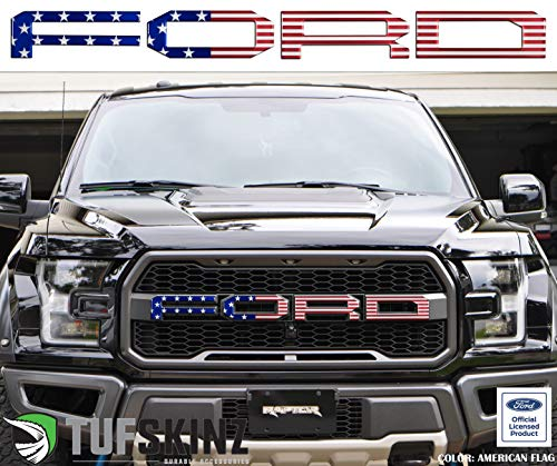 TufSkinz | Front Grill Overlays Compatible with 2015-Up Raptor - 4 Piece Kit (American Flag Edition)……