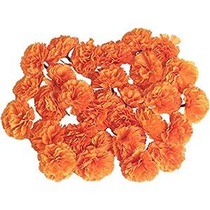 yalansmaiP 30 Packs Marigold Flower Heads Bulk Carnation Artificial Pompom Artificial Flower Carnation Party Home Wedding Decoration 5cm(Orange)
