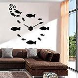 YAZCC Fish DIY Reloj de Pared Grande Pescado sin Marco Enorme Reloj de Pared 3D Espejo Grande Pegatina de Pared Reloj de diseño Moderno