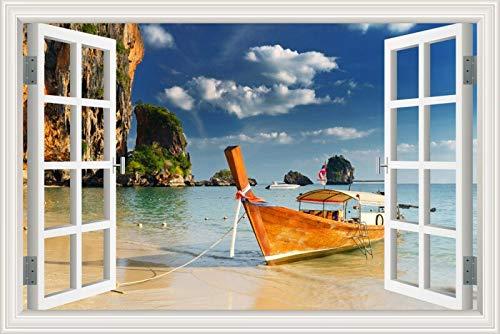 Segelboot Segelboot Windsurfen Yacht Schiff Meer Himmel Strand Nacht Landschaft Landscapee 3D Wandaufkleber Büro Kunst Aufkleber Wandbild Poster PVC Fenster Ansicht Wohnkultur