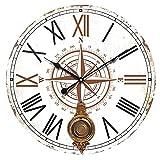 Reloj de Pared Decorativo de Madera con Péndulo Rosa de los Vientos .Adornos. Decoración Hogar. Muebles Auxiliares. Menaje . Regalos Originales. 58 x 4 x 58 cm.