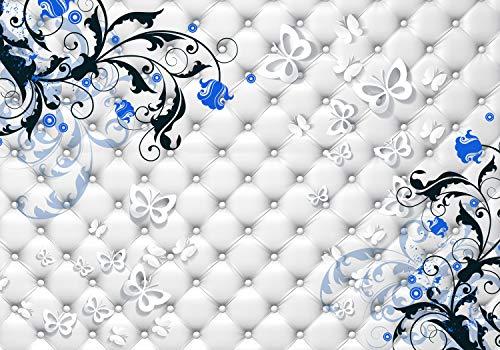 wandmotiv24 Fototapete Schmetterlinge hell Blumen Zweig XXL 400 x 280 cm - 8 Teile Fototapeten, Wandbild, Motivtapeten, Vlies-Tapeten Blumenranke Ornamente Leder Polster M4443