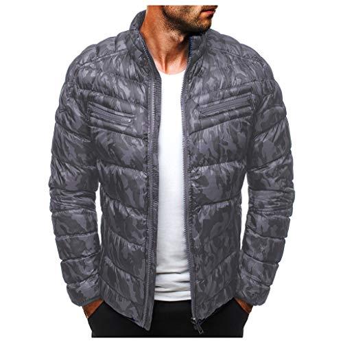 Kaiki Winter Camouflage Jacke Herren Sportlich Langarm Daunenjacke Übergangsjacke Ultraleicht Winddicht Hoher Kragen mit Tasche (L, Grau)