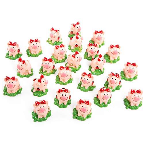 Logbuch-Verlag 24 kleine Glücksschweinchen auf Kleeblatt mit roter Schleife - rote Glücksschweine als Geschenk zu Silvester Weihnachten Neujahr