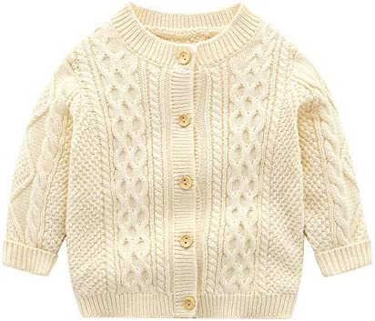 Infant Baby Boys Cardigan Crochet Sweater Toddler Knit Button up Casual Sweatshirt Beige product image