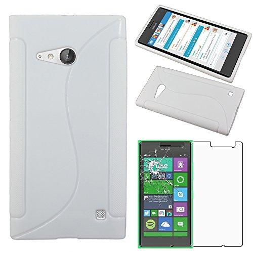 ebestStar - Cover Compatibile con Nokia Lumia 735 730 Dual Custodia Protezione S-Line Silicone Gel TPU Morbida e Sottile, Bianco +Pellicola Vetro Temperato [Apparecchio: 134.7 x 68.5 x 8.9mm, 4.7'']