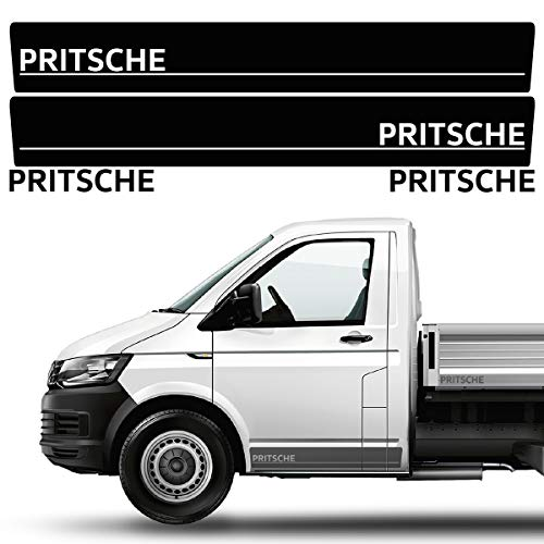 Opblaasbare wagen, zijstrepen, stickerset/decor, geschikt voor VW T4, T5 & T6 platform wagen, in de gewenste kleur, enkele en dubbele cabine Normal-Kabine zwart-mat