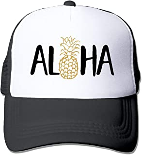 Aloha Pineapple Unisex Trucker Hat Mesh Cap with Adjustable Snapback Strap Black