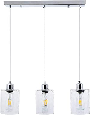 SHENGQINGTOP 3-Light Clear Hammered Glass Pendant Lights Modern Island Lighting Multi Kitchen Hanging Light Fixture in Chrome Finish