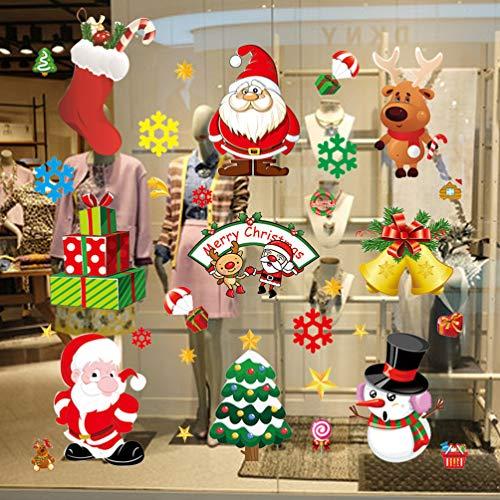 OSALADI - 20 pegatinas navideñas para ventana, diseño de Papá Noel con muñeco de nieve, copos de nieve, decoración de Navidad, decoración de Navidad