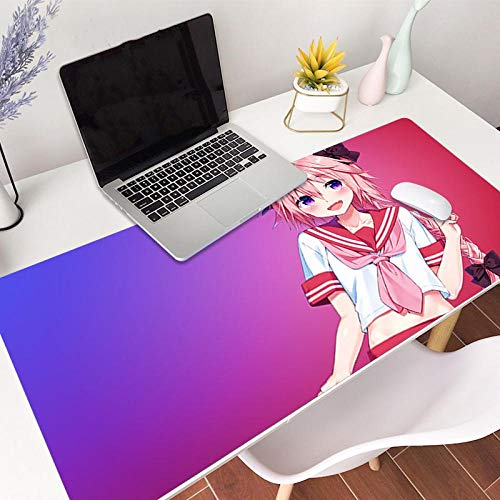 Bellagster Stitched Edge Mouse pad/Astolfo Anime Mouse pad/XL XXL Gaming Mouse pad Non-Slip/Anti-Dirty/Waterproof Mouse pad-31.4 inches × 11.8 inches (800 mm 300 mm)