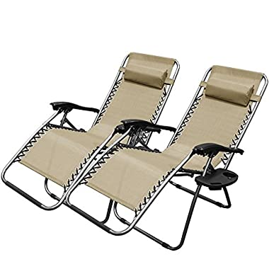 XtremepowerUS Zero Gravity Chair Adjustable Reclining Chair Pool Patio Outdoor Lounge Chairs w/ Cup Holder - Set of Pair (Tan)