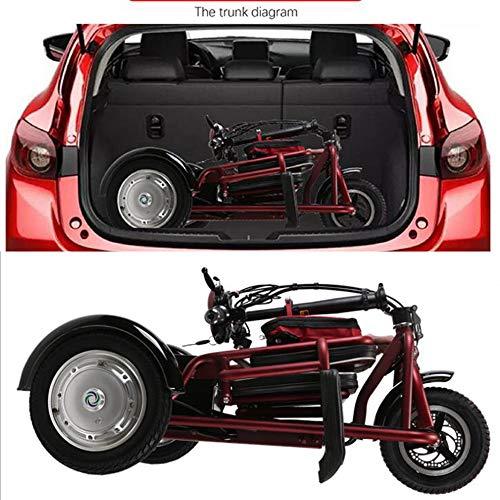 Lyanh Triciclo eléctrico Plegable Adecuado para los Ancianos Scooter de Ocio al Aire Libre 48V20A batería de Litio 55 km de Carga 150 kg de Tercera Velocidad (Rojo/Verde),Rojo