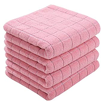 Homaxy 100% Cotton Terry Kitchen Towels Pink 13 x 28 inches  Checkered Designed Soft and Super Absorbent Dish Towel 4 Pack