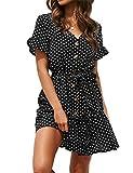 Vestido para mujer de verano, estilo casual vintage, de lunares, muselina de...