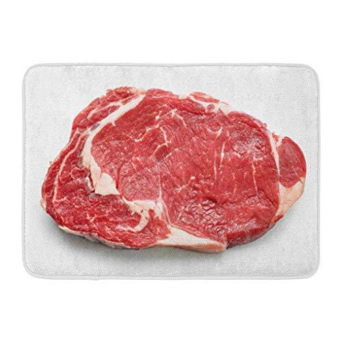 Funny Z Carne roja Carne de Res cruda Fresca Vista Superior Entrecote Blanco Solomillo Vaca Entrada Antideslizante Alfombrilla de baño Alfombra Jardín Decoración para el hogar 15.7×23.5 Pulgadas
