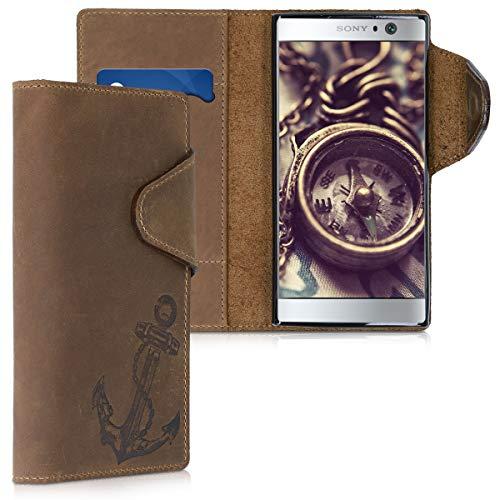 kalibri Carcasa Compatible con Sony Xperia XA2 - Funda de Cuero con Tapa de Billetera Ancla Vintage marrón