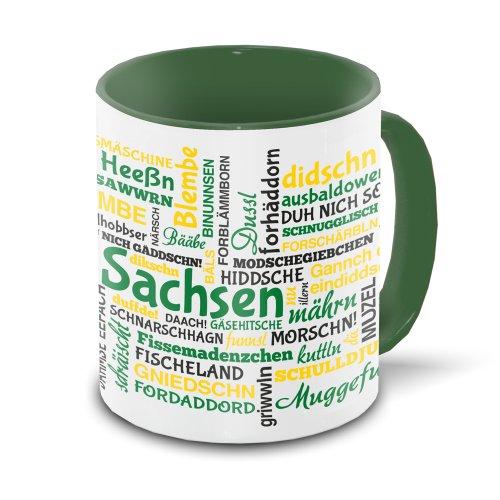 Sachsen-Tasse Tagcloud - weiß/grün - Tasse mit typischen Wörtern im sächsischen Dialekt