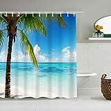 Cortina de baño repelente al agua,Bahía Caribe Palm Beach Turismo Dominicana Naturaleza Isla caliente Parques Cielo idílico Diseño al aire libre,cortinas de baño con 12 ganchos,tamaño 180 x 210cm