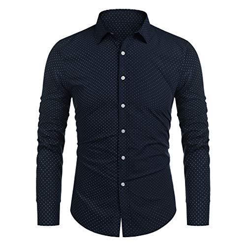 COOFANDY Langarmhemd Herren Party Shirt Freizeithemd Kent Kragenhemd(Dunkelblau,M)