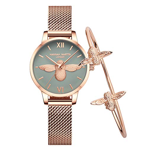 HBRT Women's Rose Gold Watch,3D Bee Ladies Watch,Casual Fashion Ladies Watch,Waterproof Womens Watches Sweet Lucky Bee,B