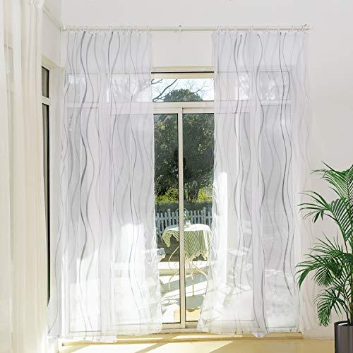 Weiße Gardinen Schals Voile mit Kräuselband Transparente Vorhänge für Schiene Vorhang mit Welle Motiv Wohnzimmer Schlafzimmer Penny (2er-Set, je 245x135cm)