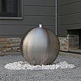 Edelstahl Kugel Springbrunnen ESB5 matt gebürstet mit 48cm großer Edelstahlkugel und LED...
