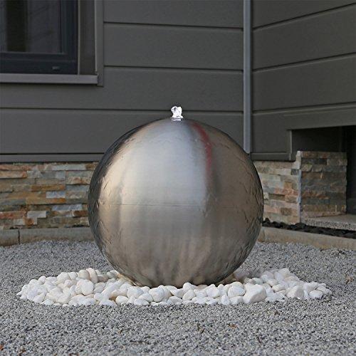 Edelstahl Kugel Springbrunnen ESB5 matt gebürstet mit 48cm großer Edelstahlkugel und LED Beleuchtung für den Außenbereich Garten