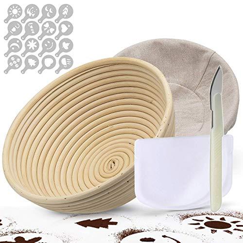 Gärkörbchen rund Ø 25 cm  TGetWorth Gärkörbchen rund 1kg, inklusive Teigschneider Teigschaber, Gratis Liner, Teigmesser,16 Stück Brot Dekor Schablonen für Home Baker & Brotherstellung