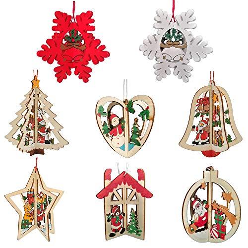 8 Pcs Ciondoli in Legno per Albero di Natale 3D Ciondoli in legno Natale 3D Pendenti in Legno per Albero di Natale 3D Pendenti in Legno Natale 3DC Ornamenti Decorazioni Abbellimenti Appeso Natalizie