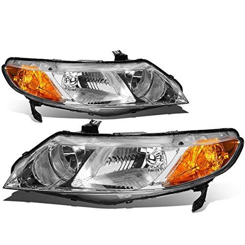 Pair of Chrome Housing Amber Corner Headlight Assembly Lamps Replacement for Honda Civic 4-Door Sedan 06-11