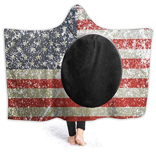 N \ B Manta de franela suave con capucha, color negro hockey sobre la pista de hielo, manta usable para el hogar, sofá, cama, oficina, sala de estar y cálida decoración de cama, 60 x 127 cm