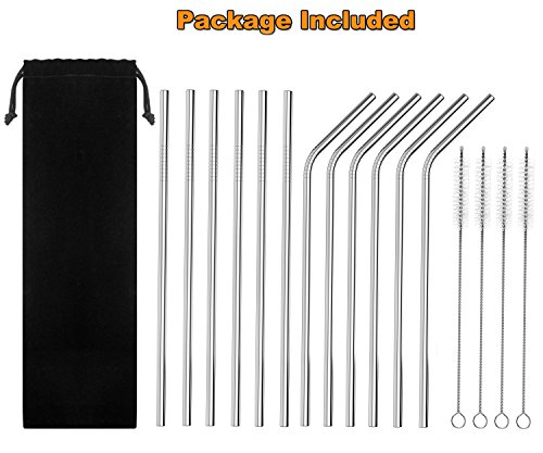 """Auvanteo 12-Pack Extra Long 10.5"""" Reusable Stainless Steel Drinking Straws with 4 Cleaning Brushes and Carry Bag Fits all 20 30oz Cups Yeti Ozark Trail Rtic Tumblers Cold Beverage(6 Straight + 6 Bent)"""