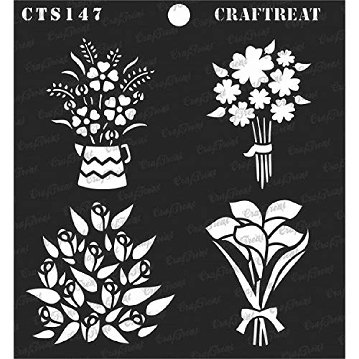 CrafTreat Stencil - Mini Bouquets | Reusable Painting Template for Journal, Notebook, Home Decor, Crafting, DIY Albums, Scrapbook and Printing on Paper, Floor, Wall, Tile, Fabric, Wood 6