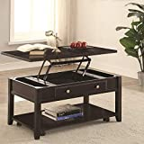 Benzara BM184980 Wooden Coffee Table with Lift Top, Brown
