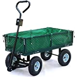 Yaheetech Mesh Garden Trolley Cart with Lining/Pneumatic Tire ,4 Wheeled Collapsible Transport Cart Utility...